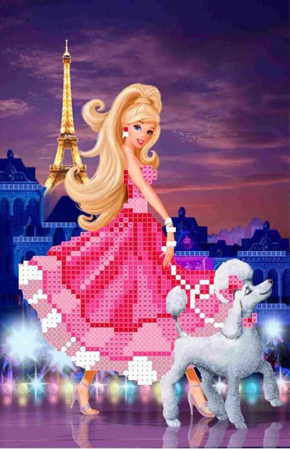 ММДС-011  Барби в Париже - схема для вышивания (MOSMARA)