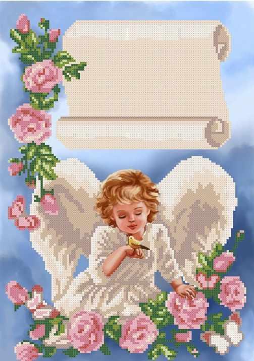 ММДМ-001  Ангелочек с птичкой - схема для вышивания (MOSMARA)