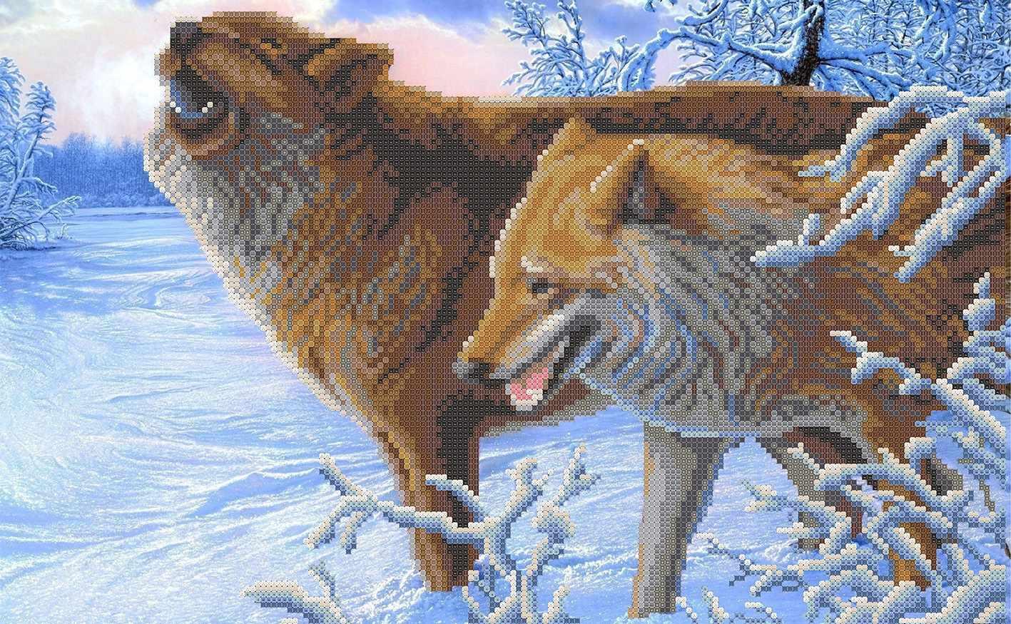 ММЖМ-007  Зимние волки - схема для вышивания (MOSMARA)