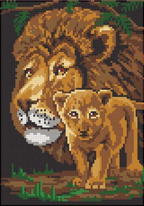 ММЖМ-001 Лев и львенок - схема для вышивания (MOSMARA)