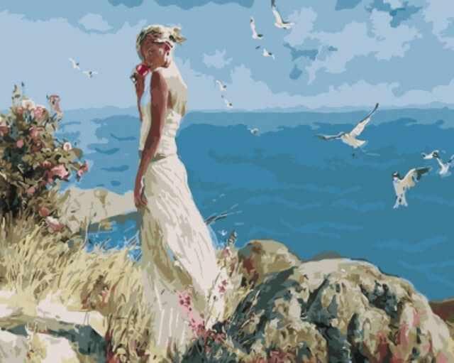 "gx5705 ""Девушка на фоне моря"""