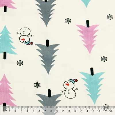 к390 голубые розовые серые елочки, снеговик (50*80 см)