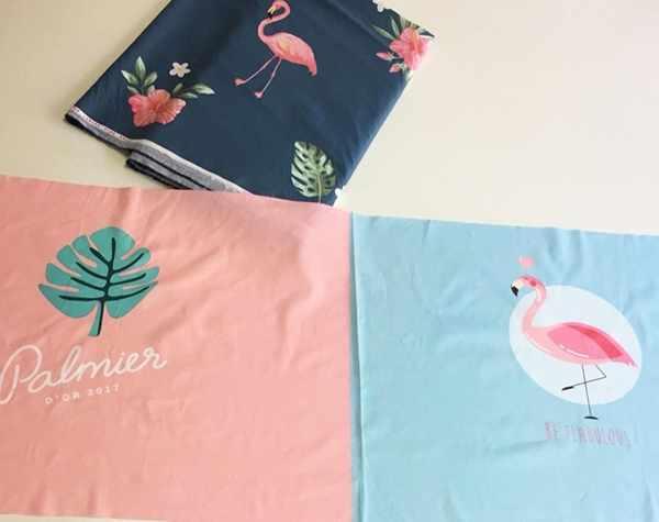 к35 купон на наволочку фламинго и листочек (63*160 см)