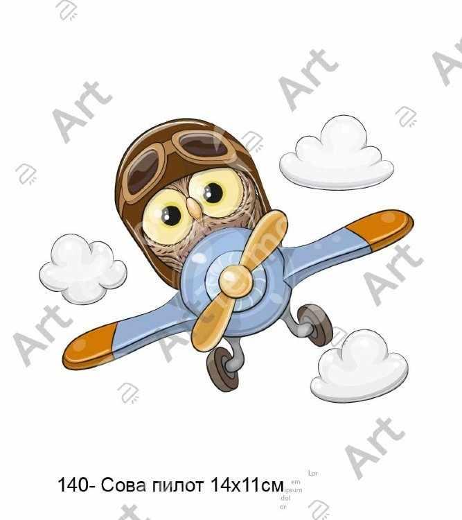 140 - Сова пилот! 14х11см