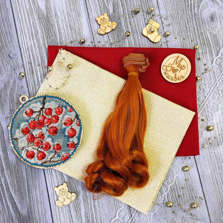 Волосы локон 15 см, рыжие