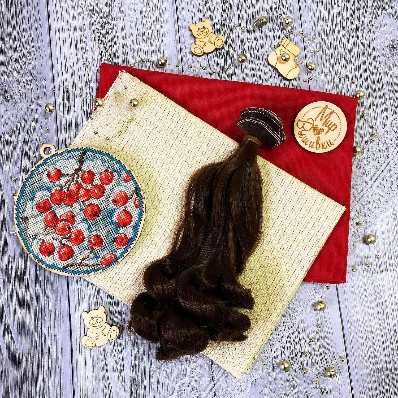 Волосы локон 15 см, темно-коричневые