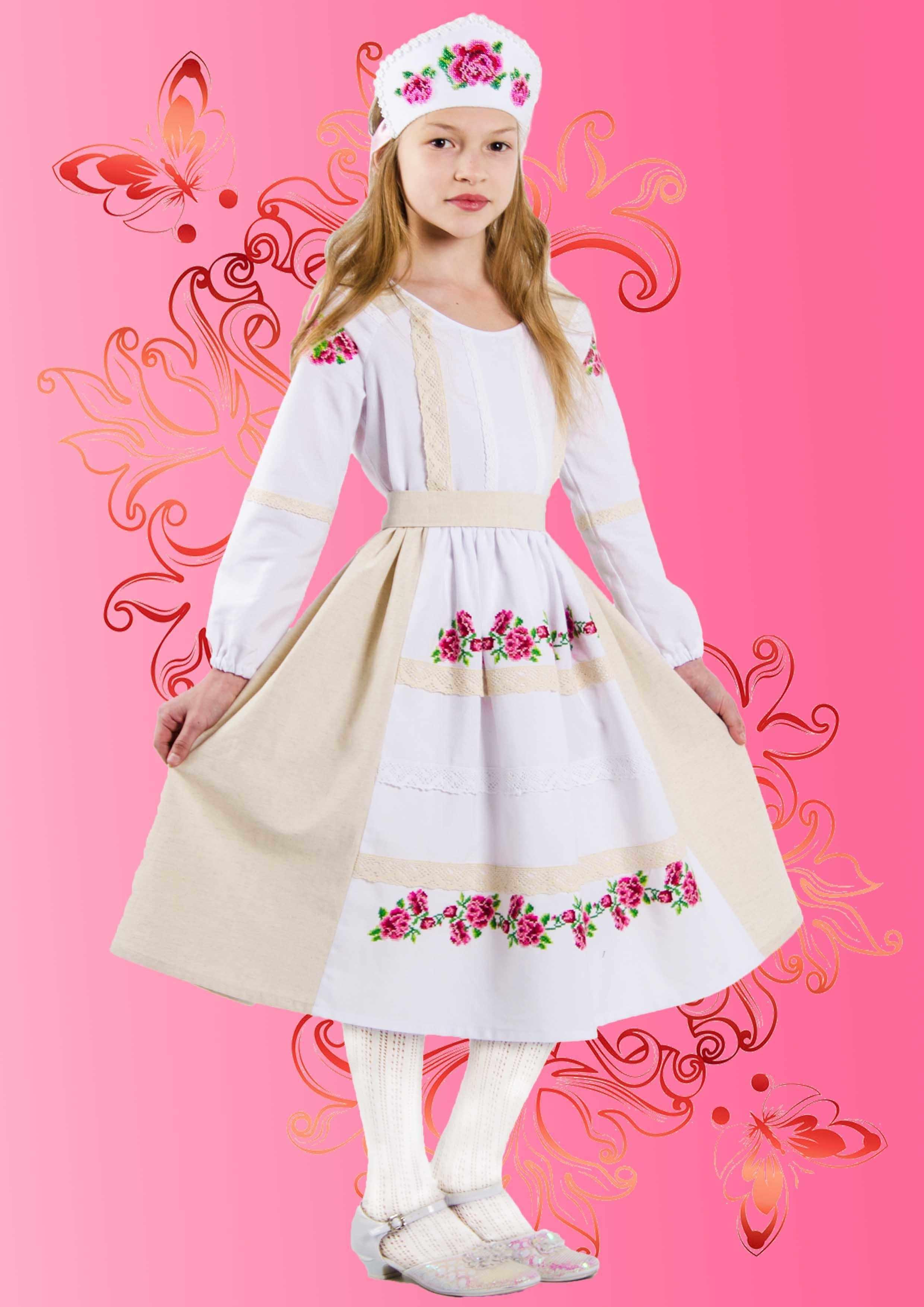 """КДПН-01 """"Розовый цвет"""" 116-128 р-р набор для вышивки детского платья"""