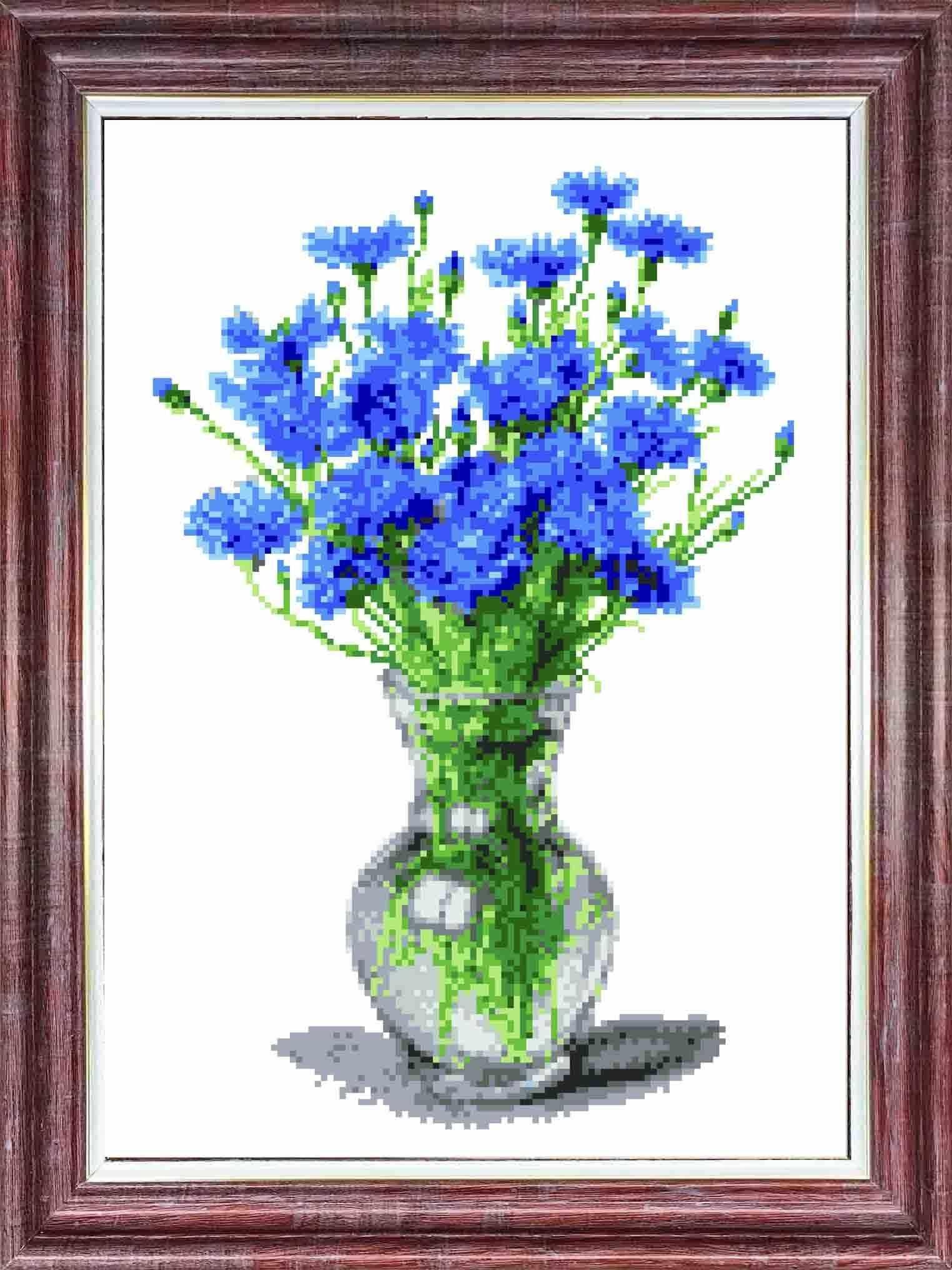 КК 044 Васильки в вазе - схема для вышивания (Каролинка)