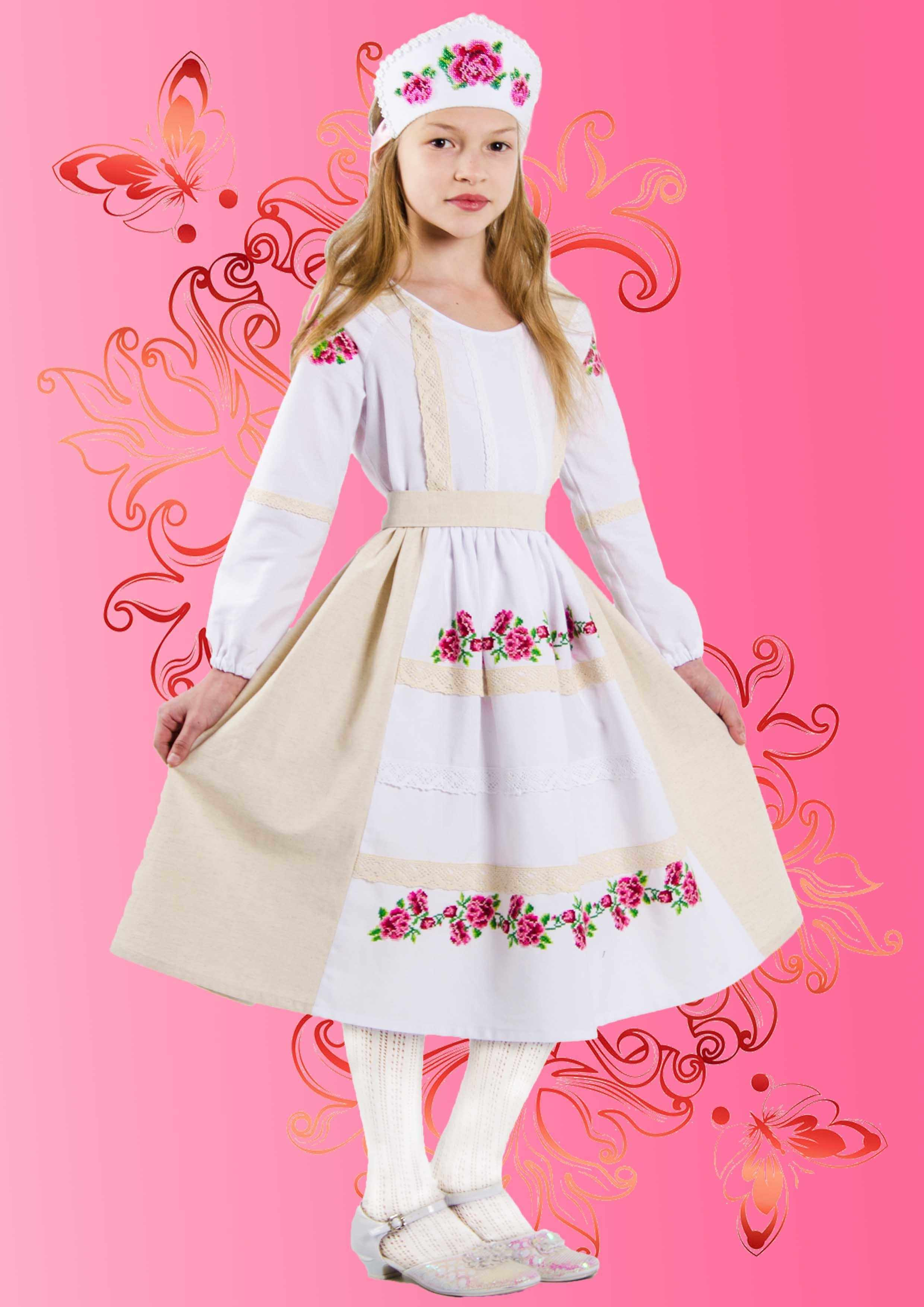 """КДПН-01 """"Розовый цвет"""" 134-146 р-р набор для вышивки детского платья"""