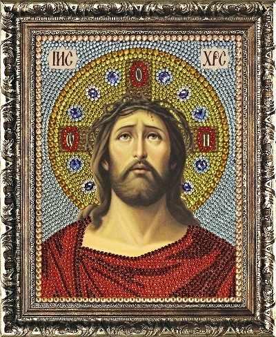 Алмазная вышивка 0073/1 Иисус Христос в Терновом Венце - картина стразами (Преобрана)