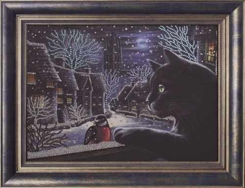 Алмазная вышивка 0115/1 Зимний вечер - картина стразами (Преобрана)