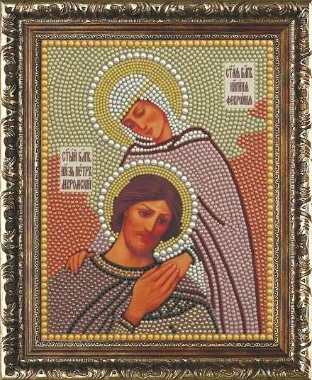 Алмазная вышивка 1П058/1 полужемчуг Петр и Феврония - картина стразами (Преобрана)