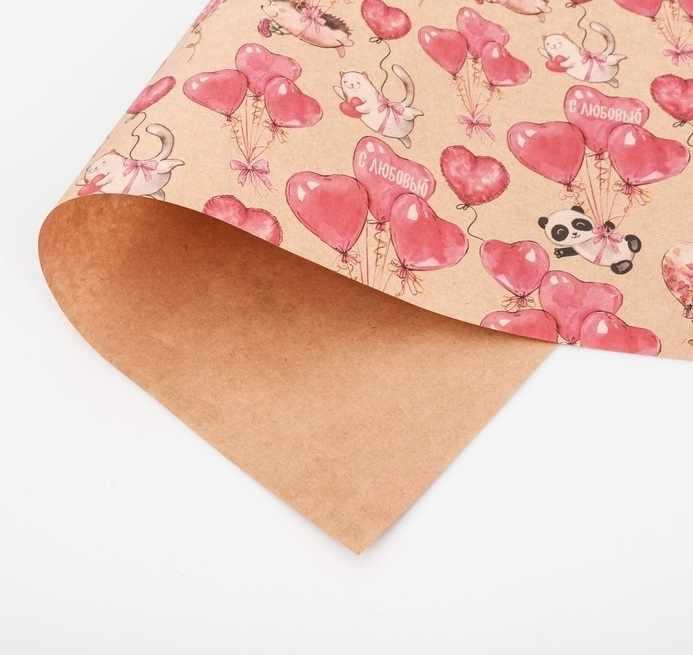 3724570 Бумага упаковочная крафтовая «С любовью»