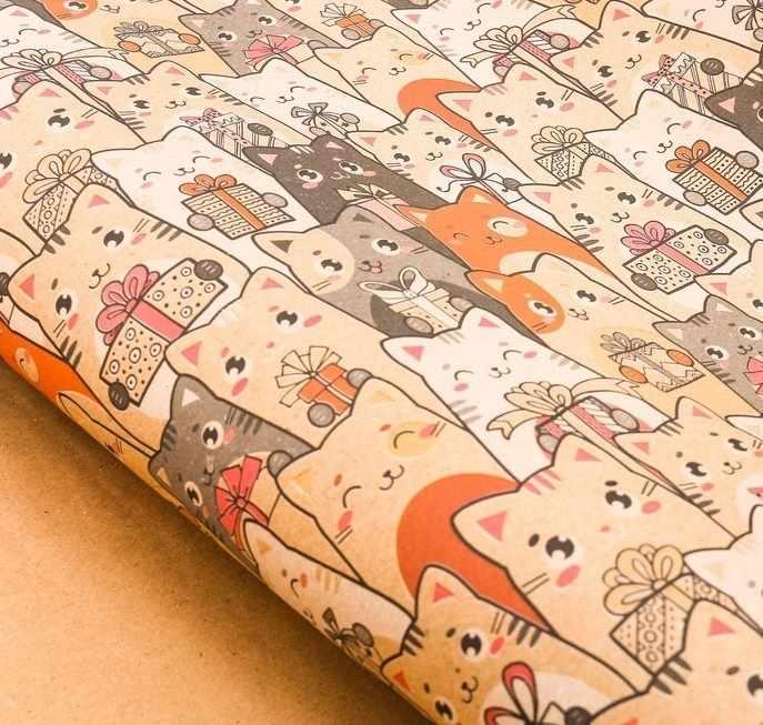 3367747 Бумага упаковочная крафтовая «Котики с подарками»