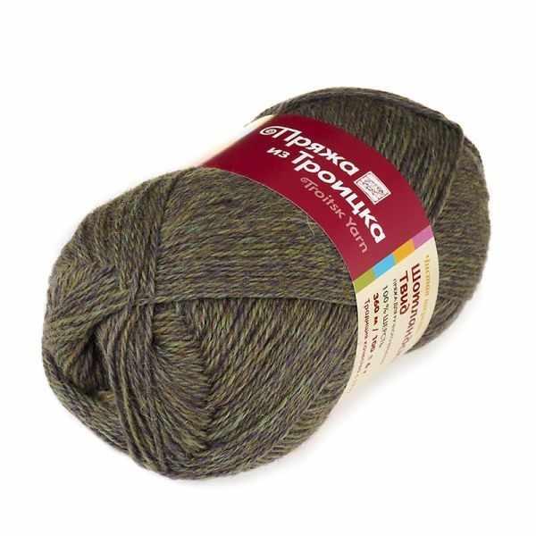 Пряжа Троицкая Шотландский твид Цвет.8014 Меланж (Омут)