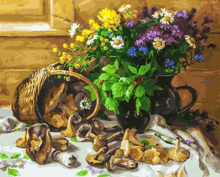 226-AB Букет и грибы - раскраска (Белоснежка)