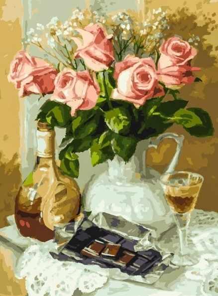 283-AS Розы и шоколад - раскраска (Белоснежка)