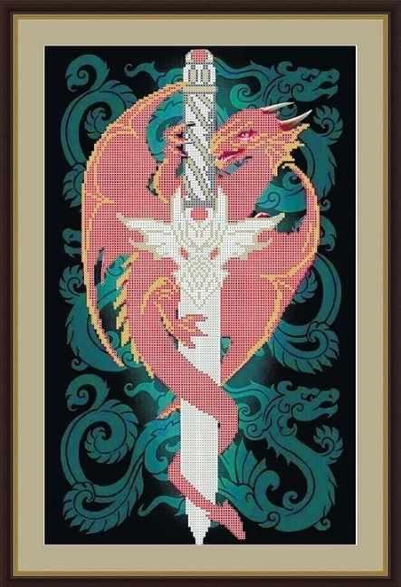 КАЮ4079 Дракон на мече - схема для вышивания (Матрёшкина)