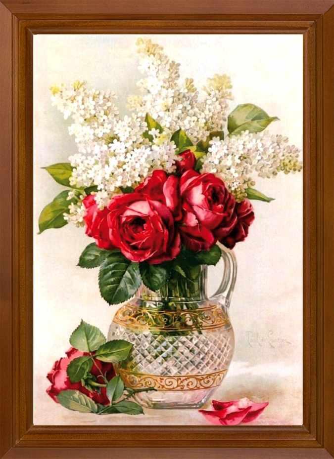 Р461 Розы с белой сиренью - схема для вышивания (FeDi)