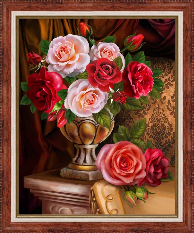 Алмазная вышивка Благородные розы (АЖ-1731) - картина стразами