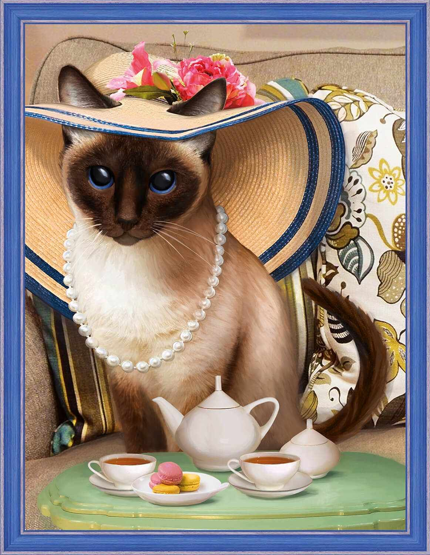 Алмазная вышивка Чаепитие у кошки (АЖ-1729) - картина стразами