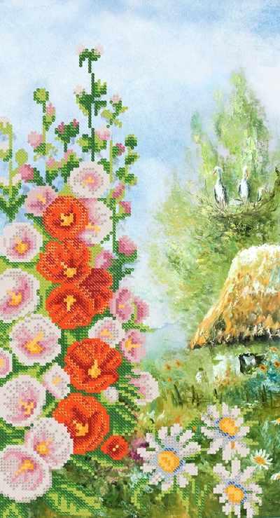 РКП-702 Цветущая мальва - схема для вышивания (Марiчка)