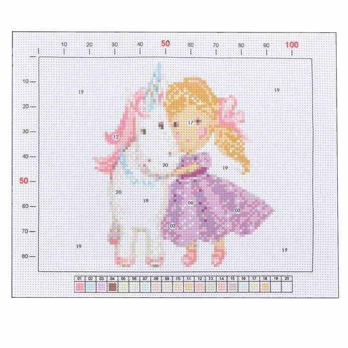 2765592 Канва для вышивания с рисунком «Принцесса с единорогом»