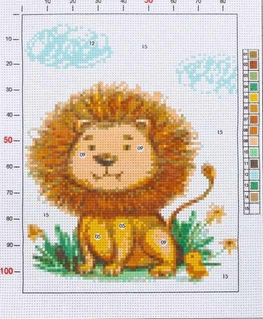 2765590 Канва для вышивания с рисунком «Львёночек»
