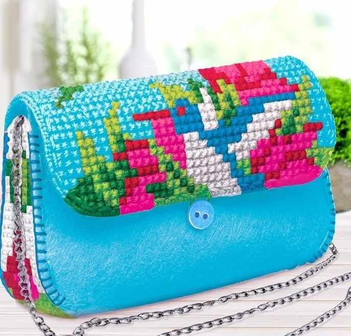 """3842657 Вышивка крестиком на сумочке """"Колибри"""", 7 цветов нити"""