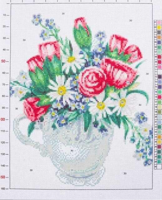 2765577 Канва для вышивания с рисунком «Весенний букет»