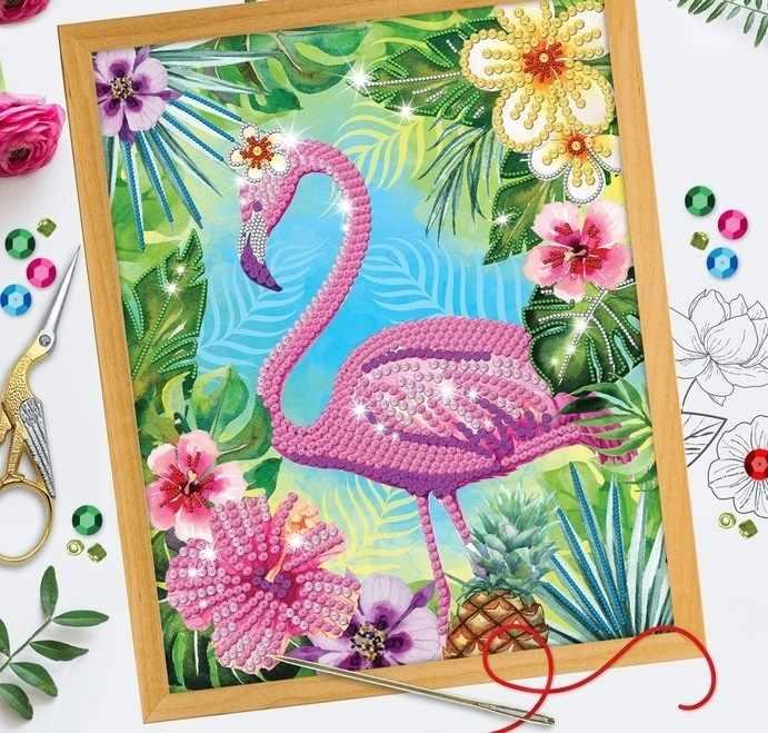 """2786893 Вышивка бисером и пайетками """"Фламинго"""""""
