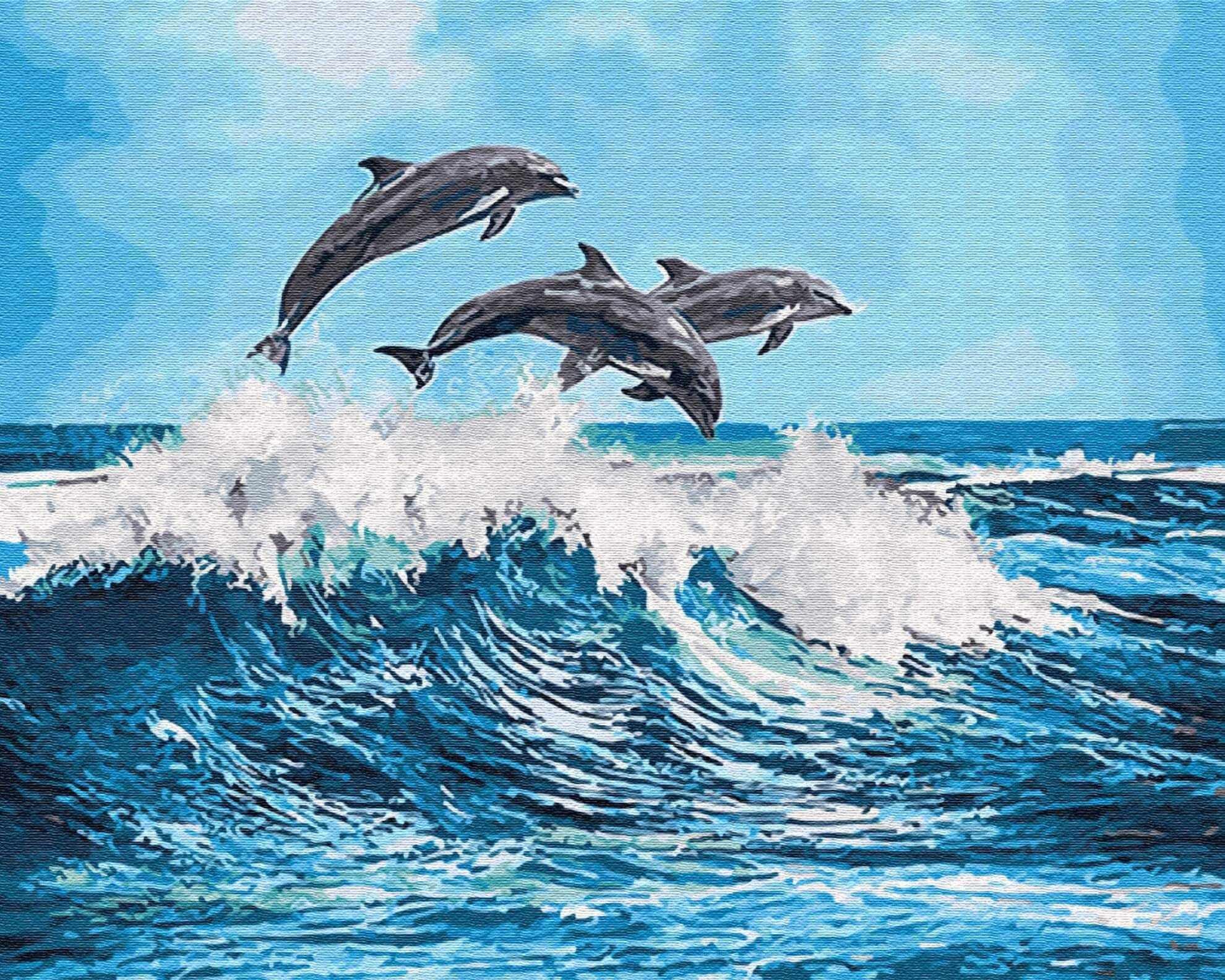 """gx26749 """"Дельфины над волной"""""""