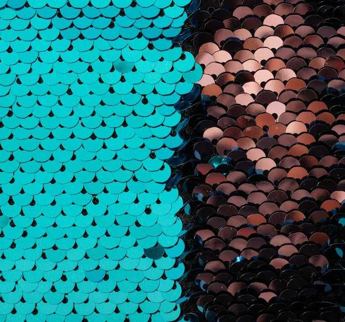 3891580 Ткань для пэчворка «Голубая и розовая» пайетки двусторонние