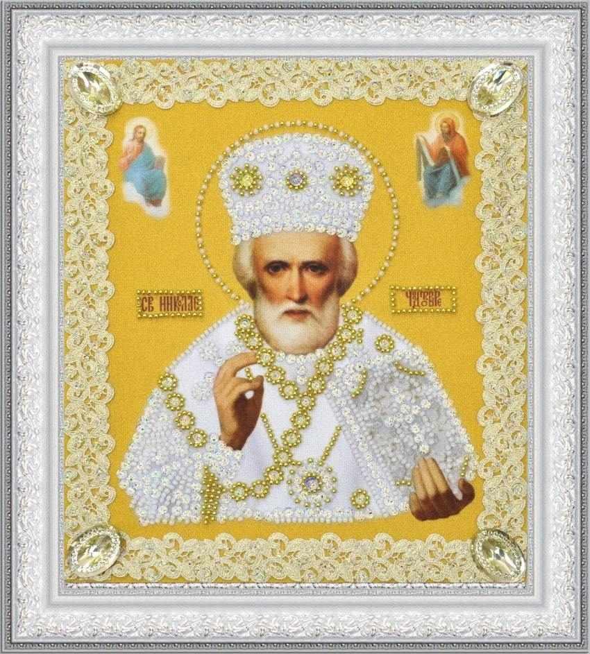 Р-369 Икона Святителя Чудотворца (золото) ажур