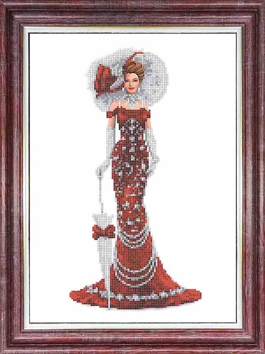 КБЛ 3043 Дама в красном - схема для вышивания (Каролинка)