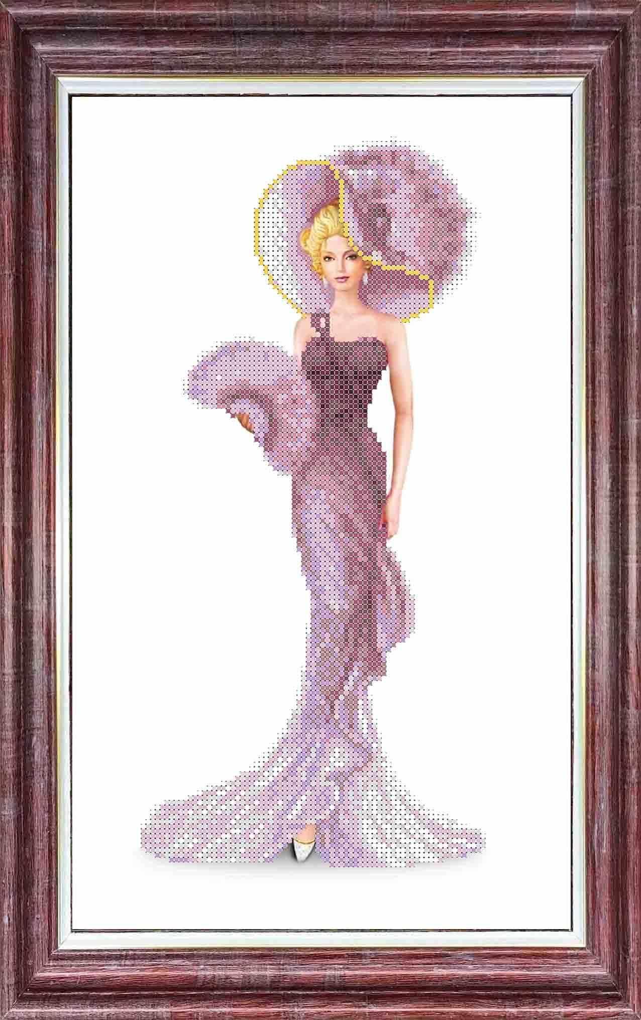 КБЛН(ч) 3017 Дама с веером - набор (Каролинка)
