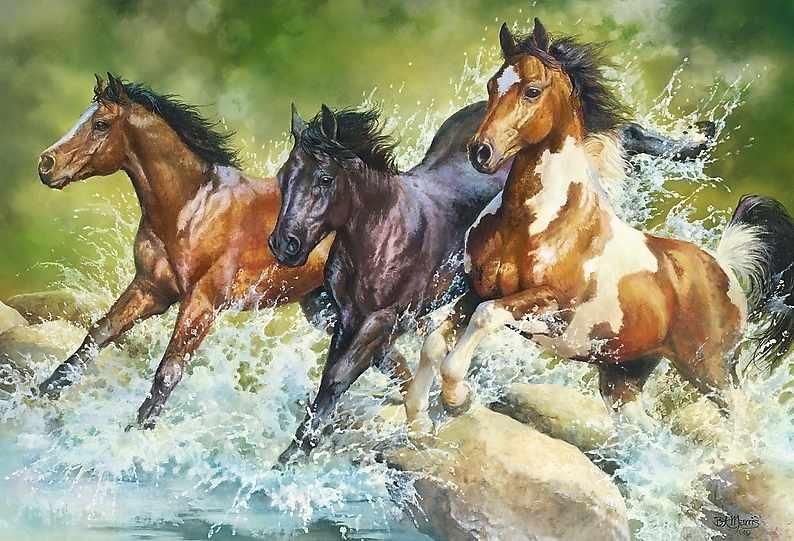 26148 Три дикие лошади, 1500 деталей