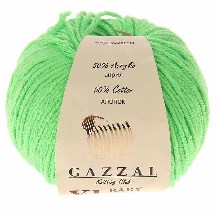 Пряжа  Baby Cotton XL Цвет.3427XL Зеленый