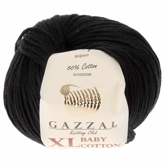 Пряжа GAZZAL Baby Cotton XL Цвет.3433XL Чёрный