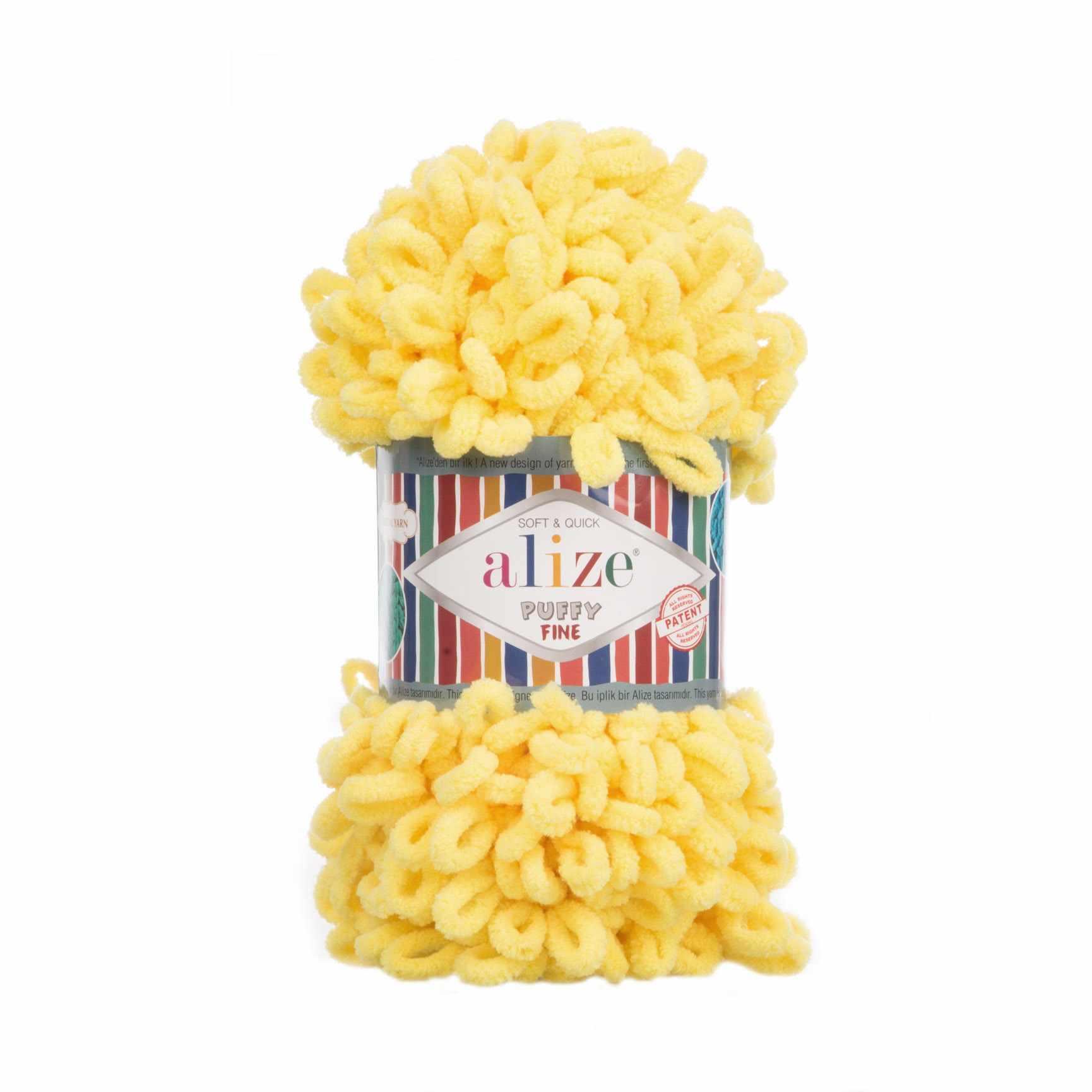 Пряжа Alize Puffy Fine Цвет.113 желтый
