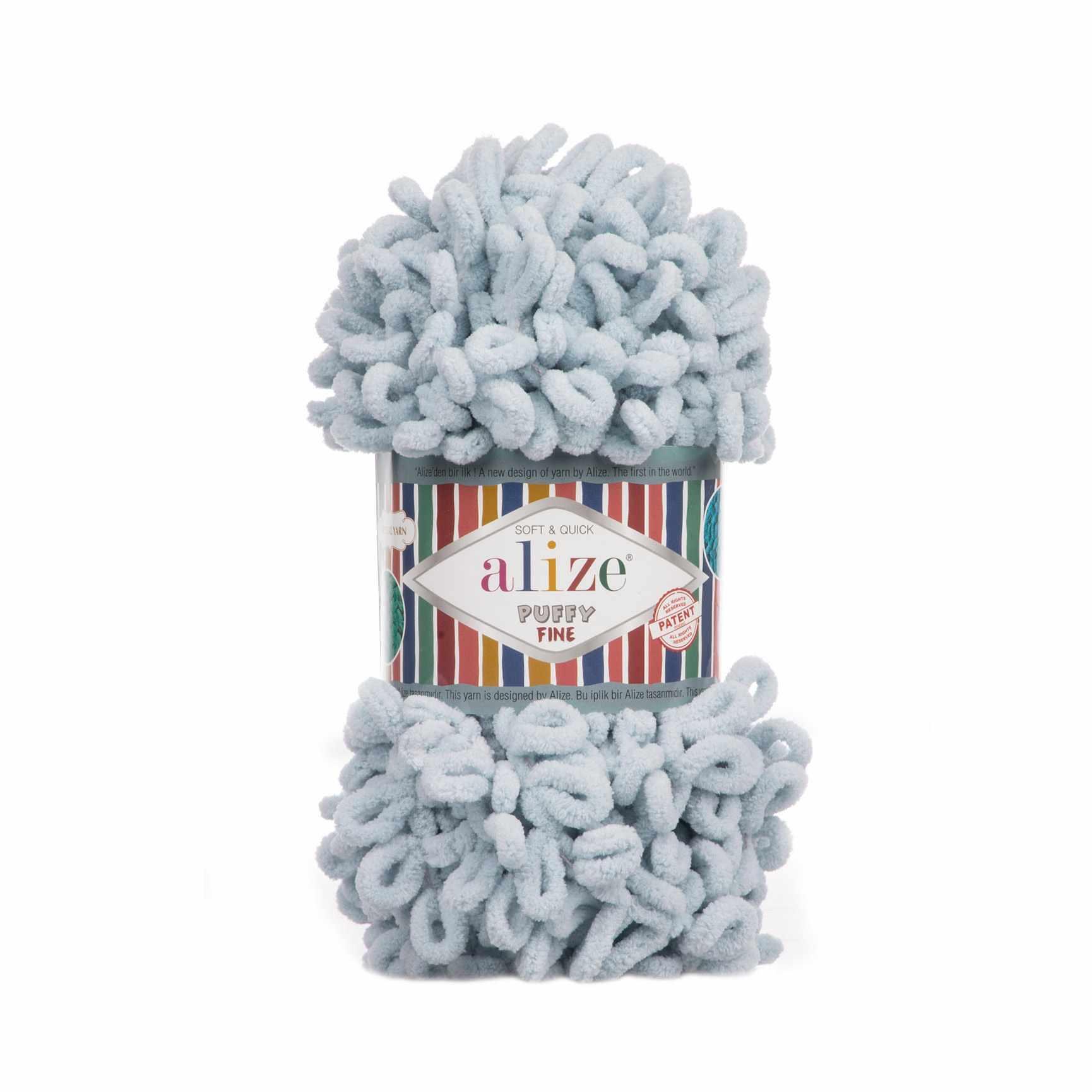Пряжа Alize Puffy Fine Цвет.500 Пыльно-голубой