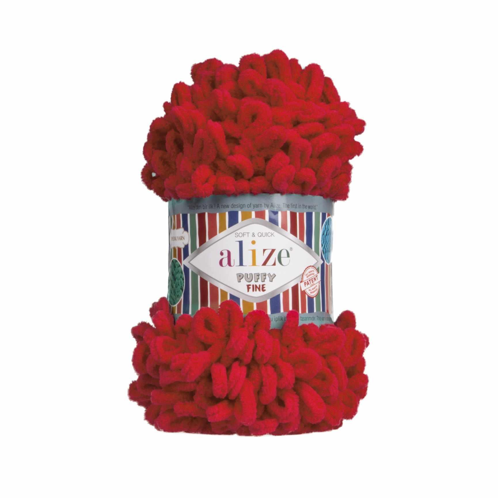 Пряжа Alize Puffy Fine Цвет.056 Красный