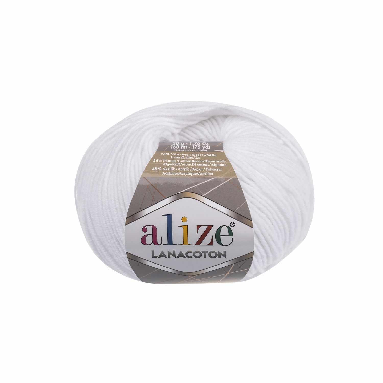 Пряжа Alize Lanacoton Цвет.055 Белый