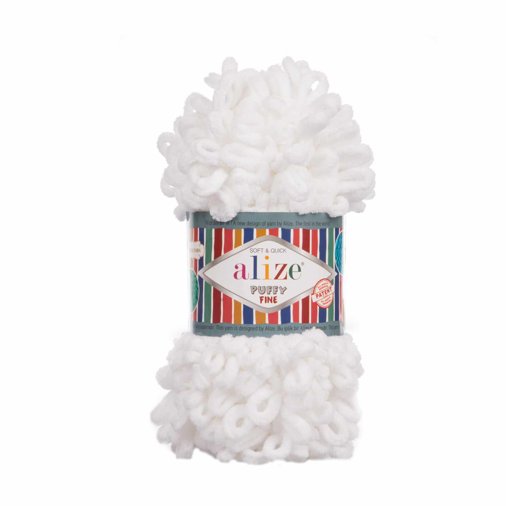 Пряжа Alize Puffy Fine Цвет.055 Белый