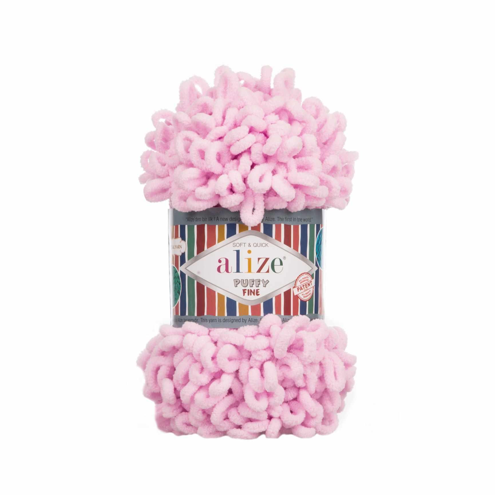 Пряжа Alize Puffy Fine Цвет.194 Розовая пудра