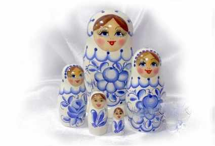 01-005-030-бр Матрешка 5 кук.гжель (синяя)