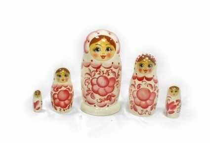 01-005-030-бр Матрешка 5 кук.гжель (розовая)