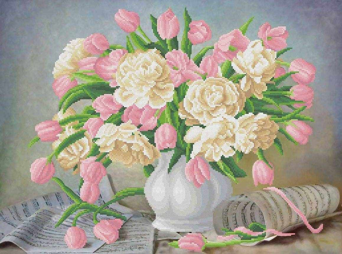 ММН-031 Симфония пионов и тюльпанов - схема для вышивания (MOSMARA)