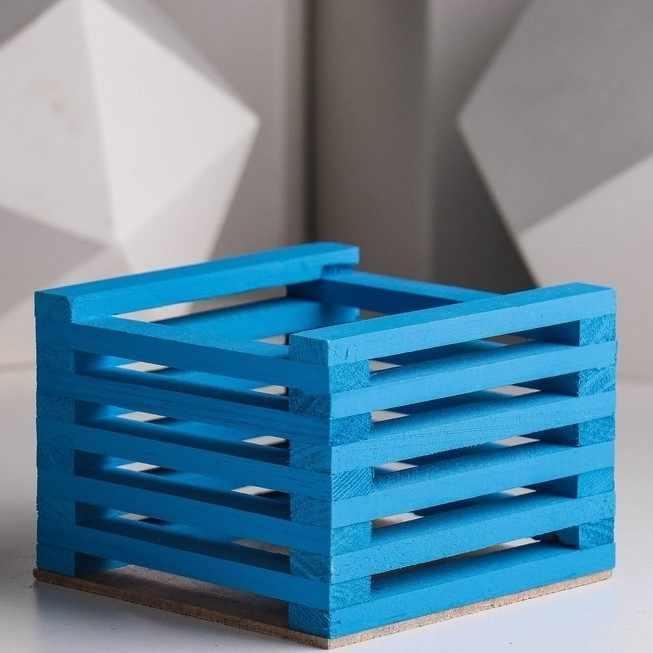 3746558 Ящик для цветов 13 х 13 х 9 см, синий