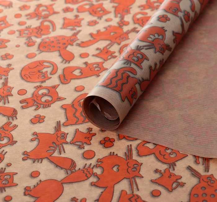 """4154512 Бумага упаковочная крафт """"Кошки-мышки"""", 0,7 х 1 м"""